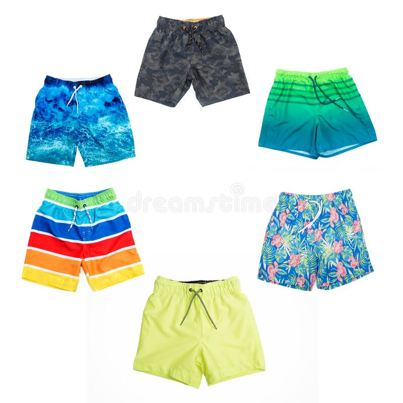 Collage of different shorts for boys of different colors. royalty free stock photos