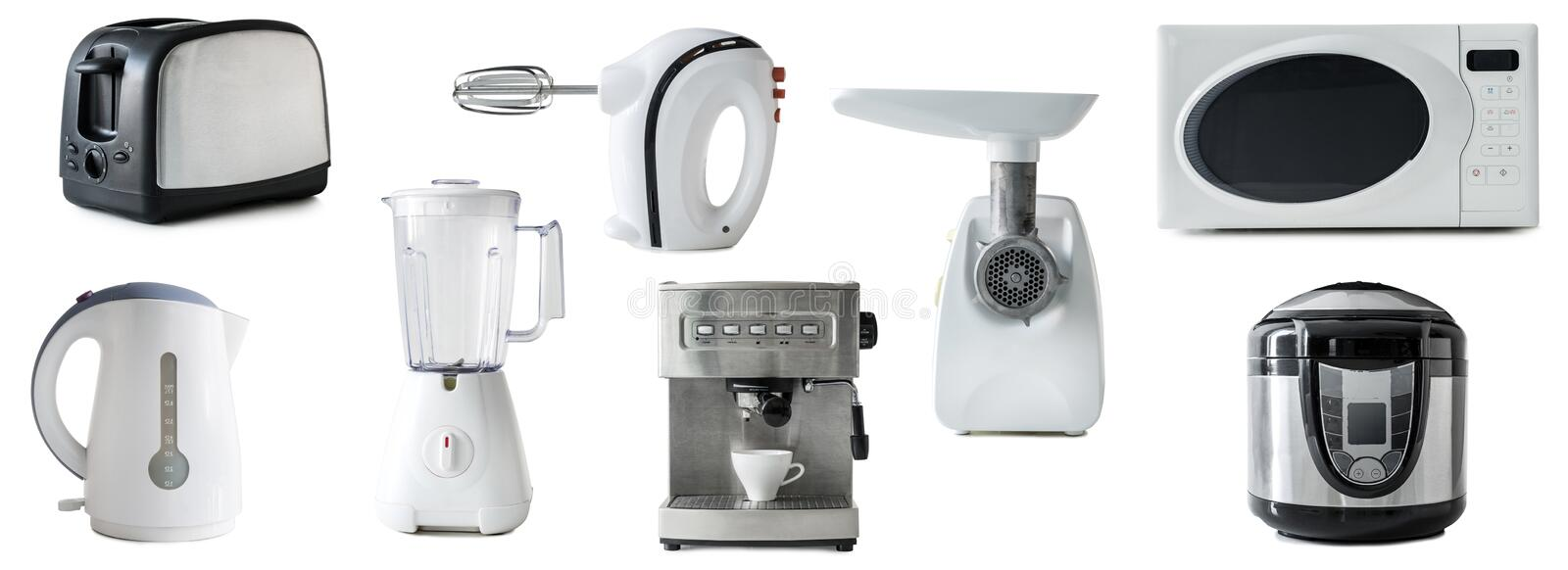 Collage Of Different Types Of Kitchen Appliances Isolated Stock ...