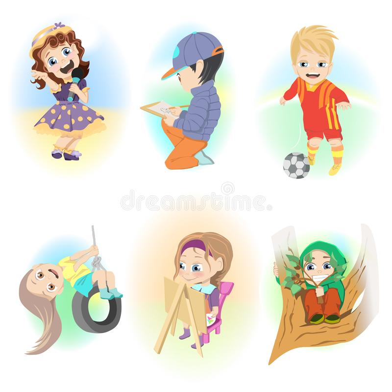Collage of different vector illustrations. Children have fun and playing in free time. stock illustration