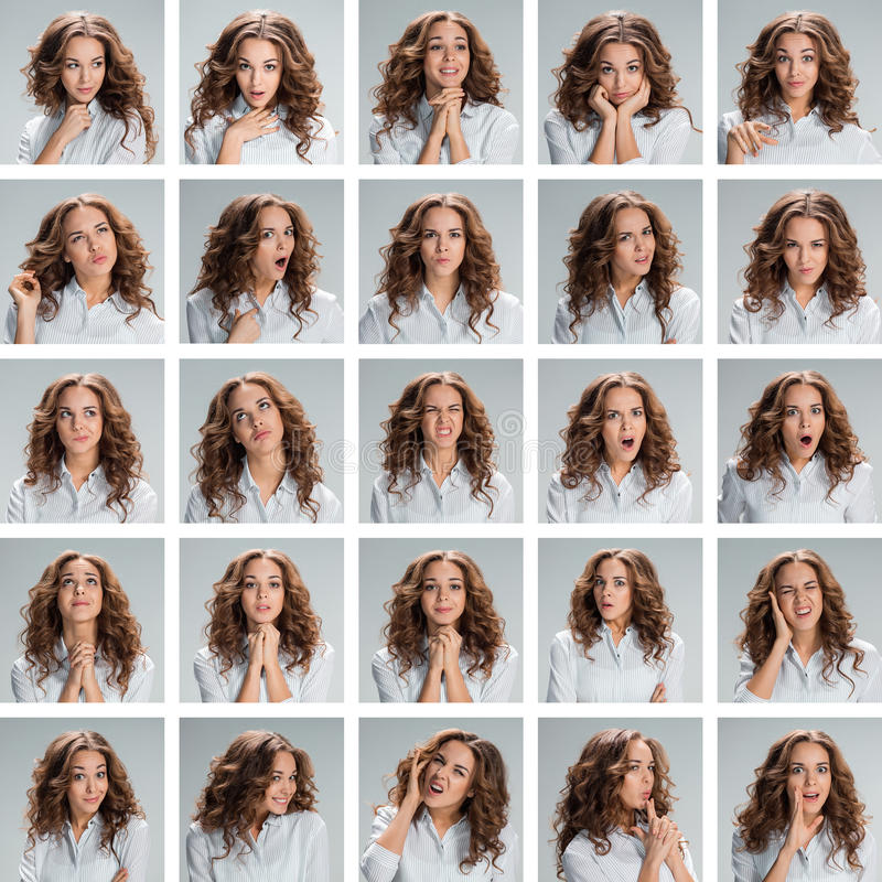 The collage from different woman emotions on gray background royalty free stock photo