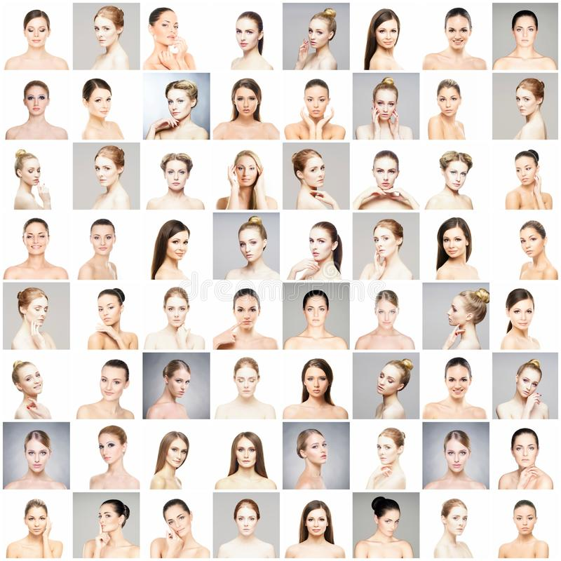 Collage of different portraits of young women in makeup royalty free stock photography