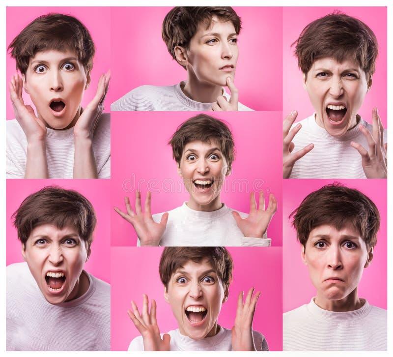 Collage differente di emozioni Insieme di giovane ragazza emozionale isolata sopra fondo rosa Emozioni differenti della femmina fotografia stock