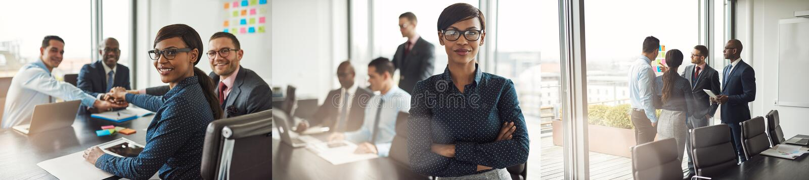 Collage of diverse businesspeople smiling while working in an office royalty free stock photo