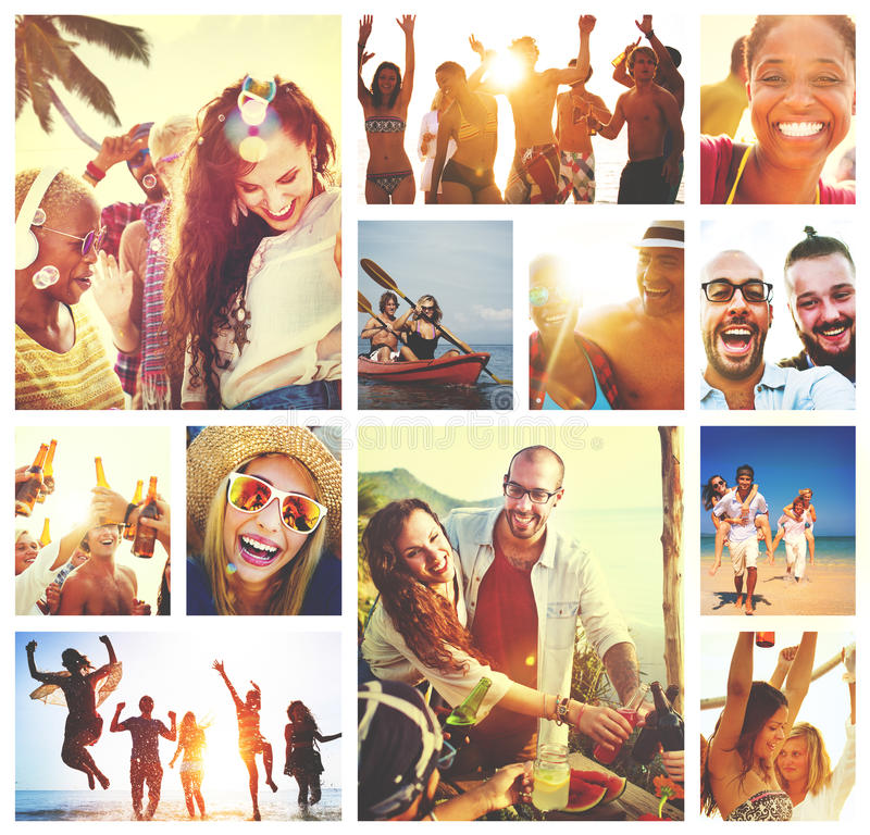 Collage Diverse Faces Summer Beach People Concept.  stock image