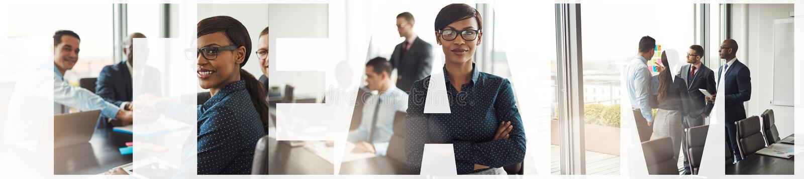 Collage of a diverse team of businesspeople working together stock photography