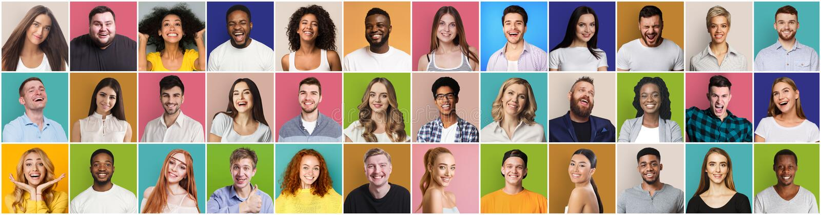 Collage of diversed people expressing positive emotions stock image