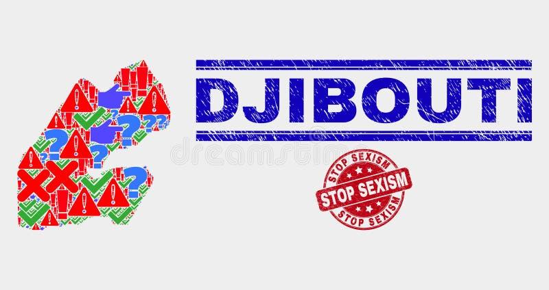 Collage of Djibouti Map Sign Mosaic and Distress Stop Sexism Stamp Seal. Symbol Mosaic Djibouti map and seal stamps. Red round Stop Sexism grunge watermark stock illustration