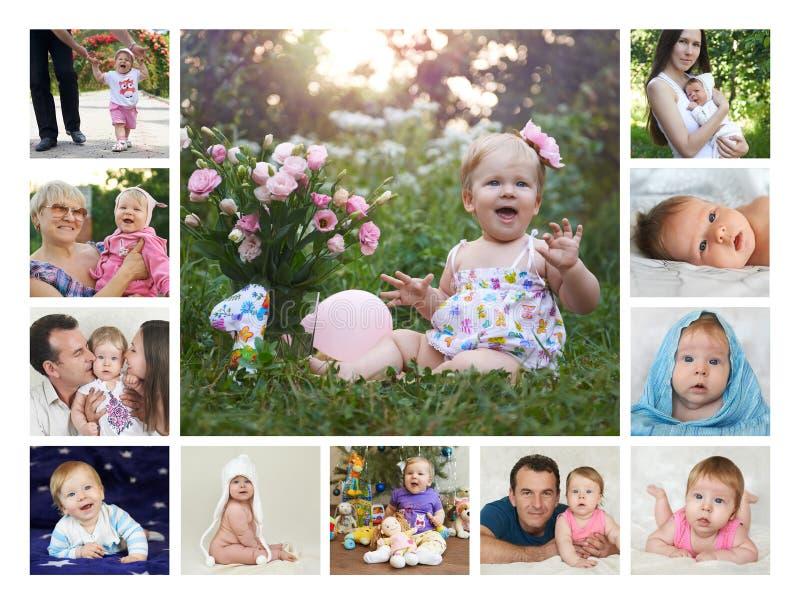 Collage doce meses del primer año del bebé imagen de archivo