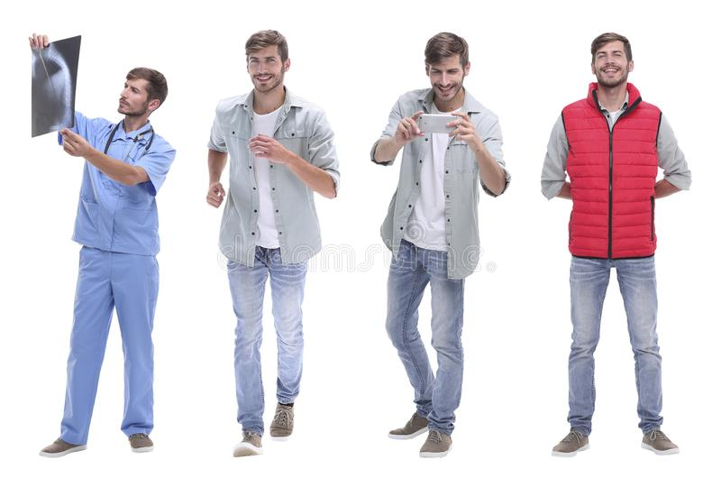 Collage doctor and young man isolated on white stock images