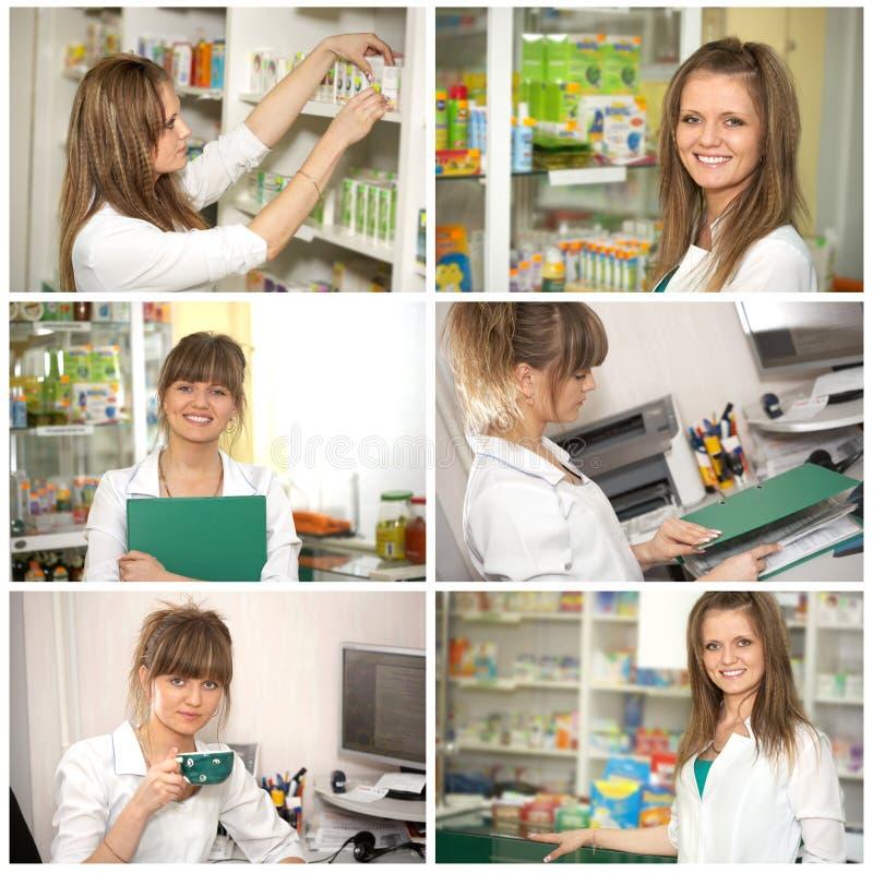 Collage. Doktor an der Apotheke lizenzfreies stockfoto