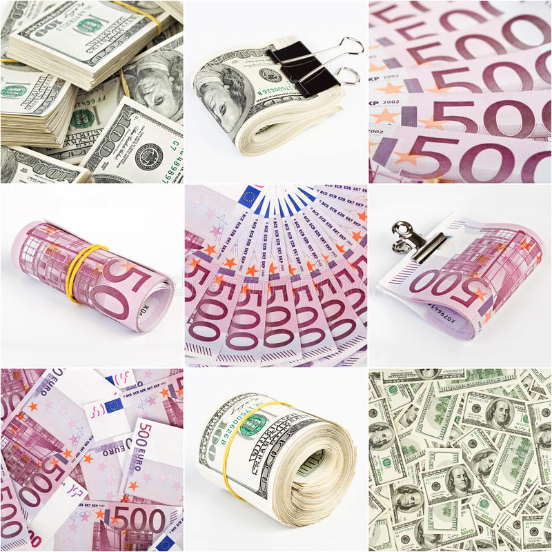Download Collage From Dollar And Euro Money Backgrounds Stock Image - Image: 17635825