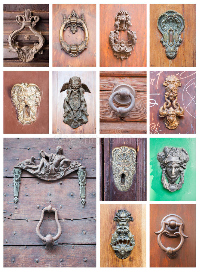 Collage of door's knockers stock photography