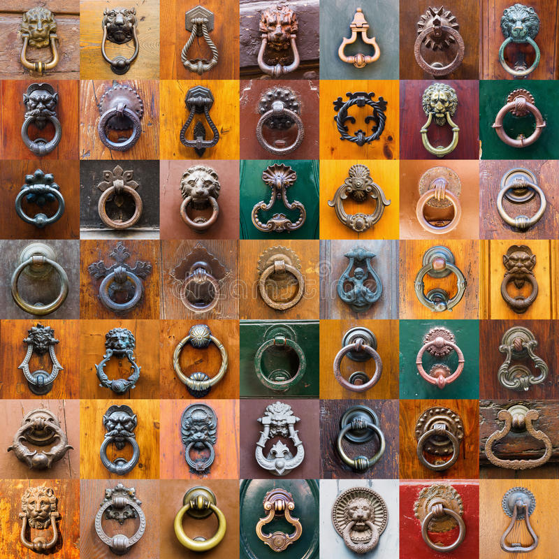 Collage of doorknockers from Tuscany royalty free stock photography