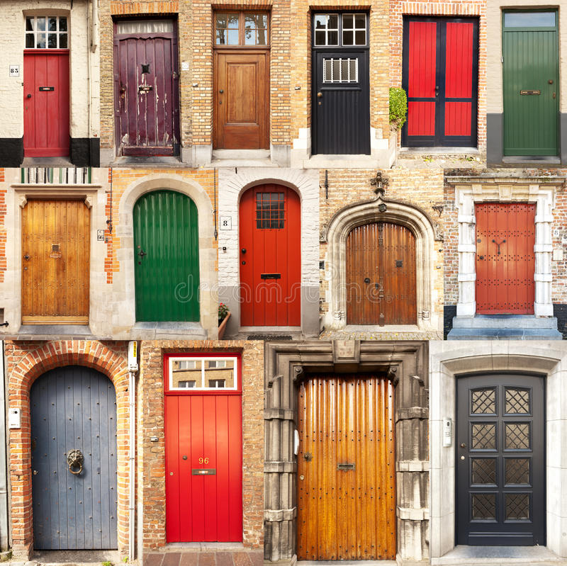 Collage of doors from Bruges, Belgium. A collage of 15 different European front entrance doors from the town of Bruges in Belgium stock photography