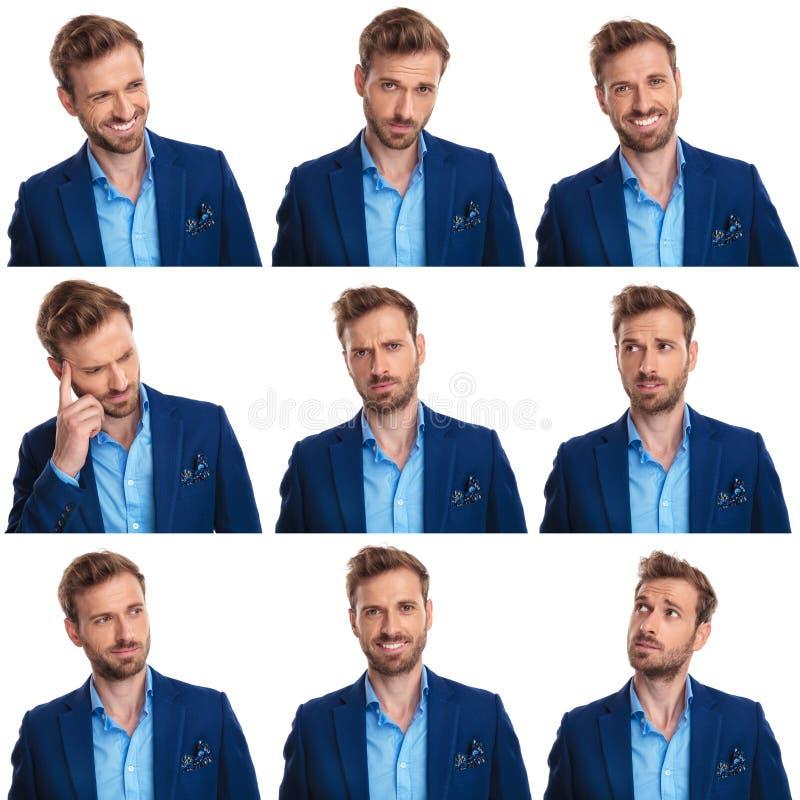 Collage drôle de 9 images d'un jeune homme sexy photographie stock
