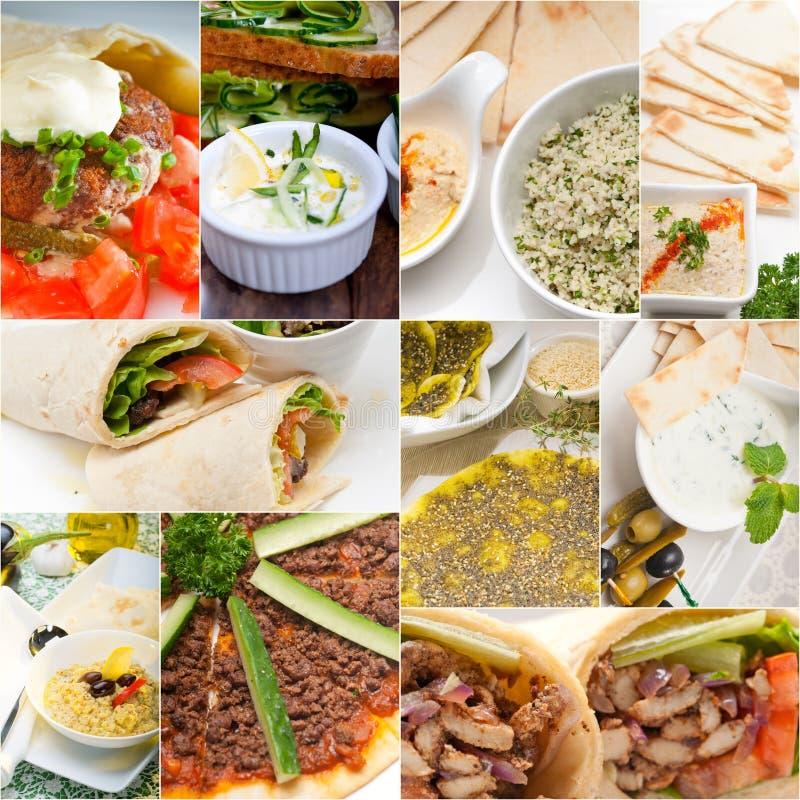 Collage du Moyen-Orient arabe de nourriture image stock