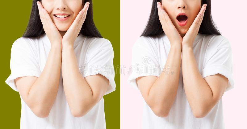 Collage du visage asiatique enthousiaste choqué étonné de femme d'isolement sur le fond coloré Jeune fille asiatique dans le T-sh photos stock