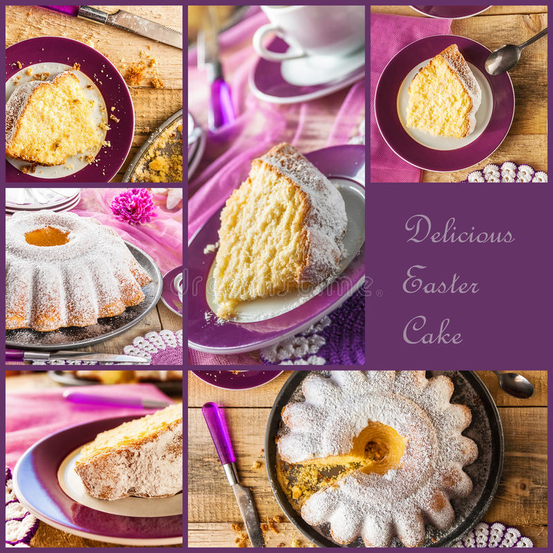 Collage Easter cakes wooden board stock photos