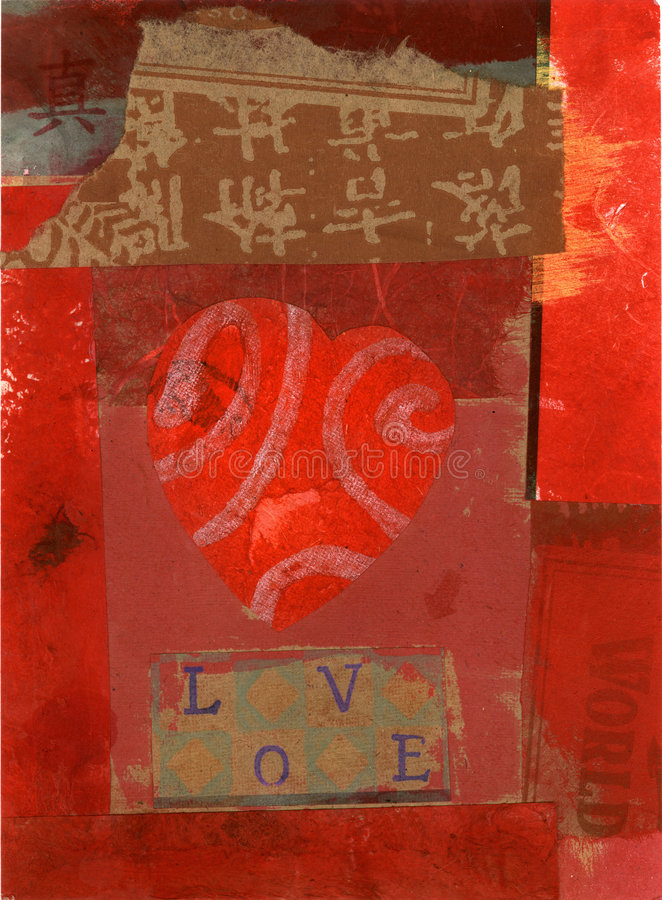 Collage ecléctico del corazón stock de ilustración