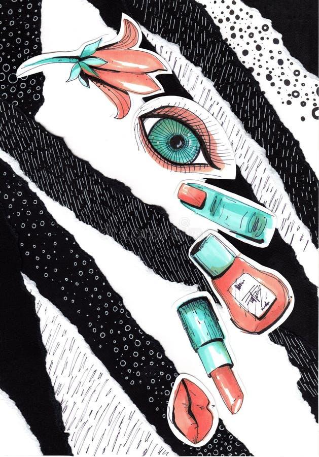 Collage in een stijl van het maniertijdschrift met gekke meisjeslippen en ogen r stock foto