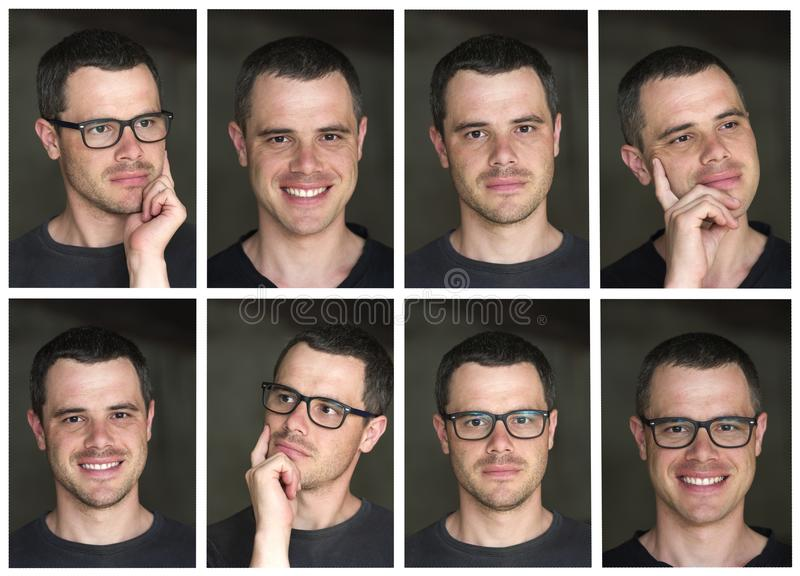 Collage of eight portraits of young handsome black-haired unshaven confident successful intellectual man with shiny black eyes royalty free stock photos