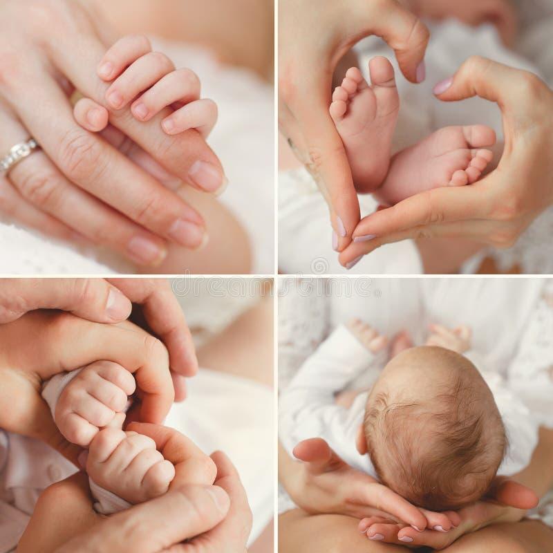 Collage eines neugeborenen Babys in den Armen seiner Mutter stockbild