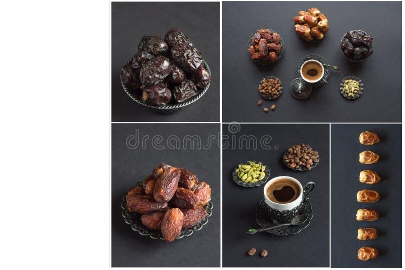 Collage el diferente tipo que muestra de fechas con la taza de café fotos de archivo