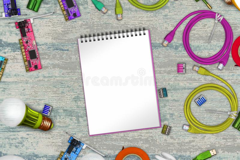 Collage of electric tools on wood with opened notebook pages and terminals, usb cable, printed circuit boards, cleats, led lamps stock photos