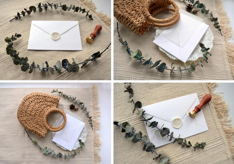 Collage. Elegant boho flat lay composition royalty free stock images