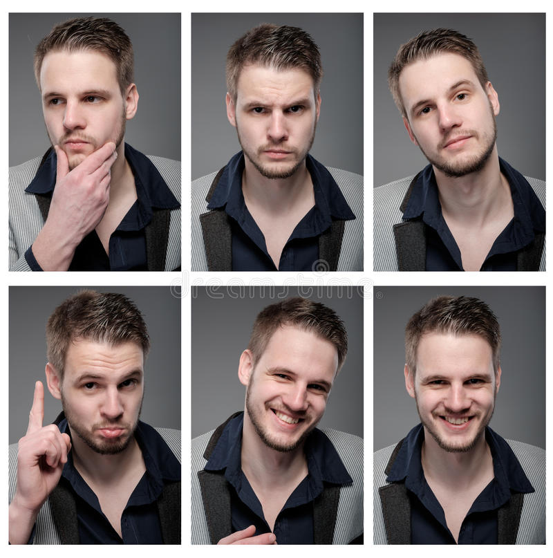 Collage of elegant man in smart clothes. royalty free stock images
