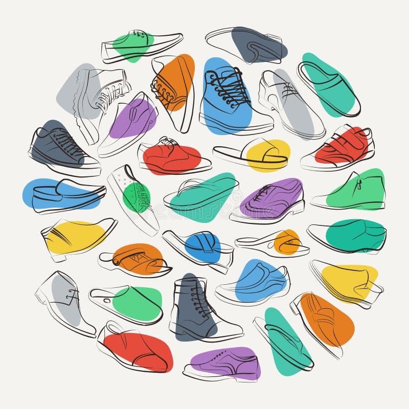 Collage elegante de zapatos para hombre y de botas en puntos coloridos ilustraci n del vector - Zapatos collage ...