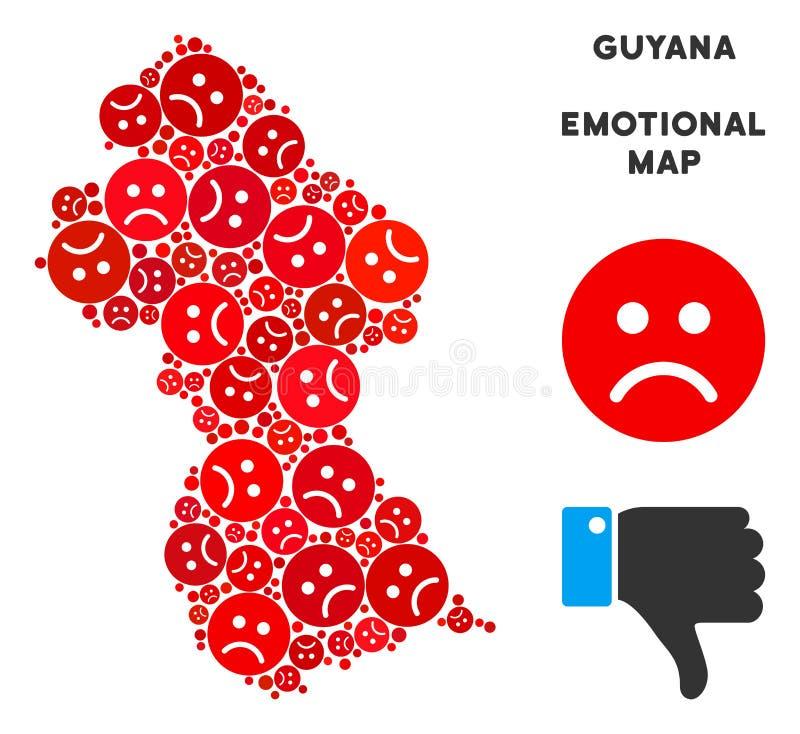 Collage emocional del mapa de Guyana del vector de Emojis triste stock de ilustración