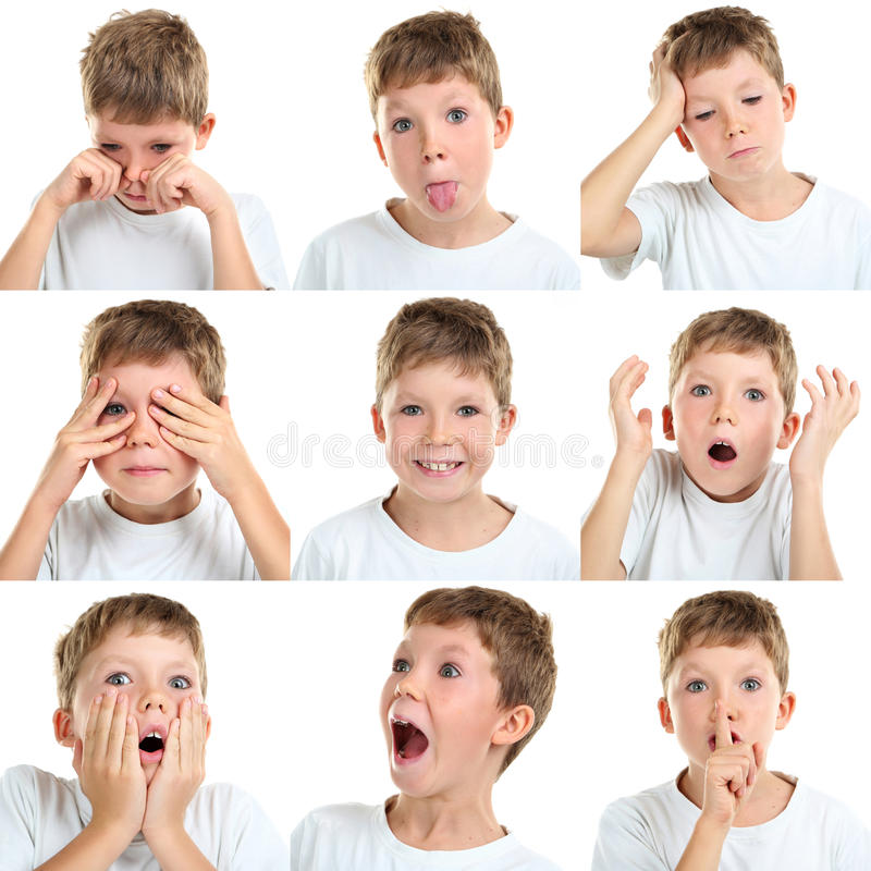 Collage of emotional little boy stock photos