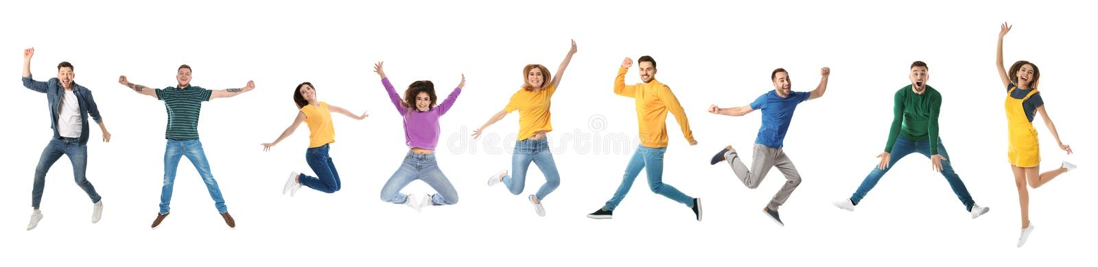 Collage of emotional people jumping on white background royalty free stock photos