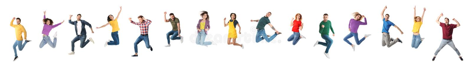 Collage of emotional people jumping on white. Banner design. Collage of emotional people jumping on white background. Banner design stock photo