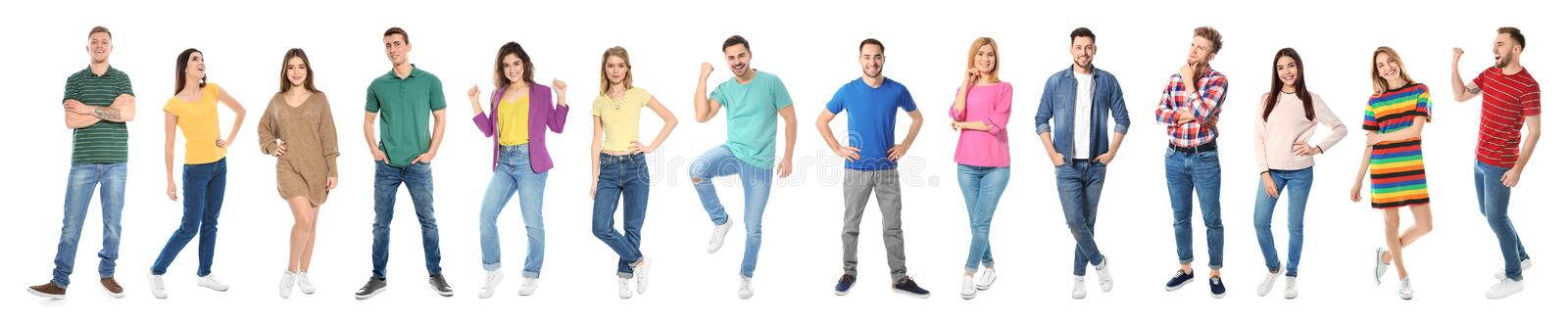 Collage of emotional people on white background royalty free stock images