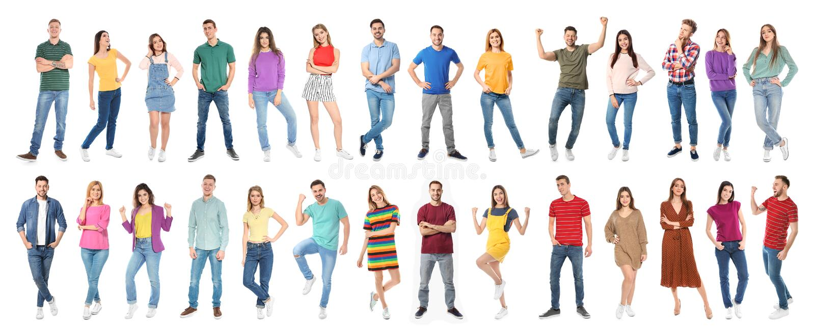 Collage of emotional people on white background royalty free stock photos