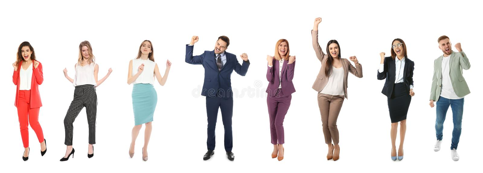 Collage of emotional people on white background royalty free stock photography