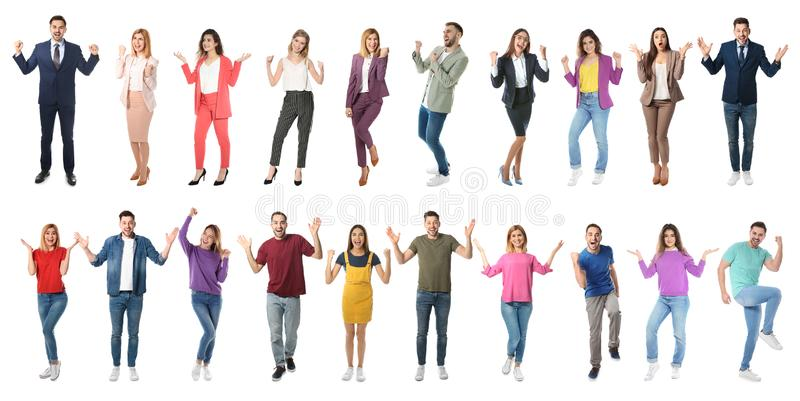 Collage of emotional people on white background stock photo