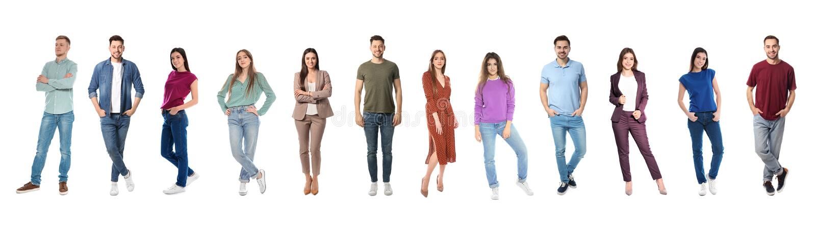 Collage of emotional people on white. Banner design. Collage of emotional people on white background. Banner design stock photo