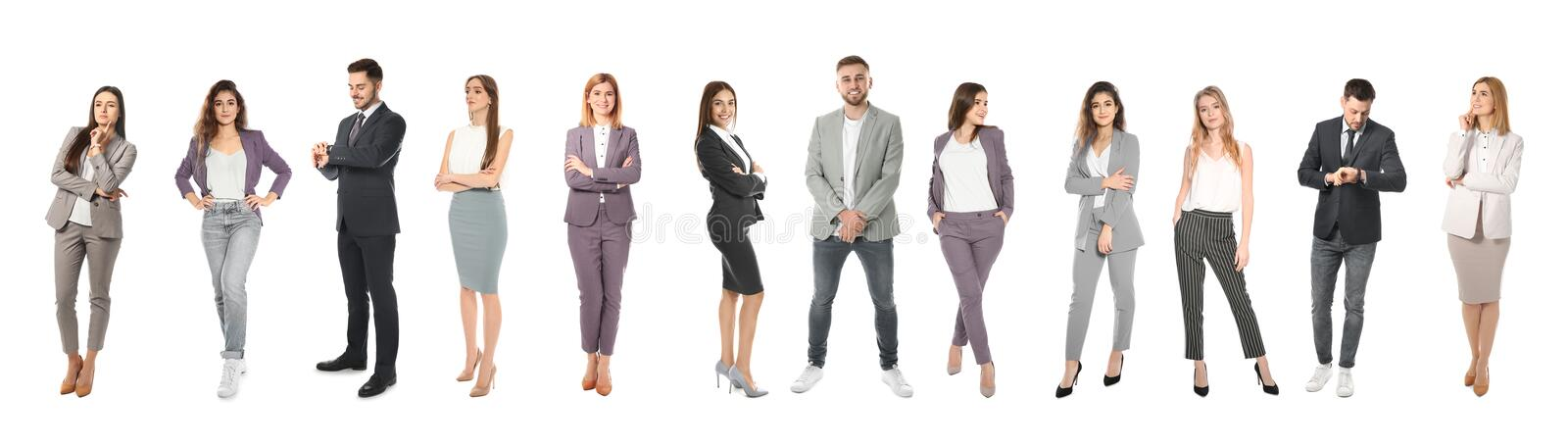 Collage of emotional people on white. Banner design stock images