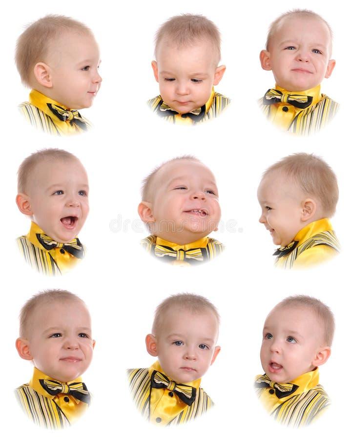 Collage. Emozioni del ragazzino fotografia stock