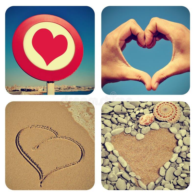 Collage en forme de coeur de choses photographie stock