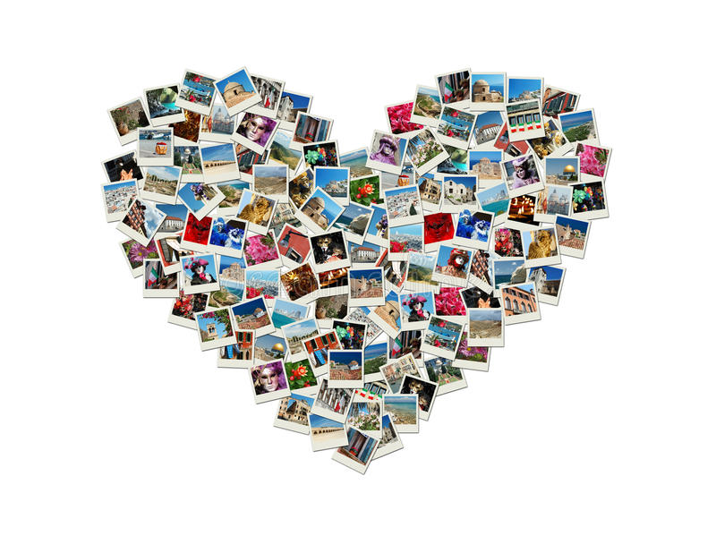 Collage en forme de coeur fait de photos de course du monde photo stock