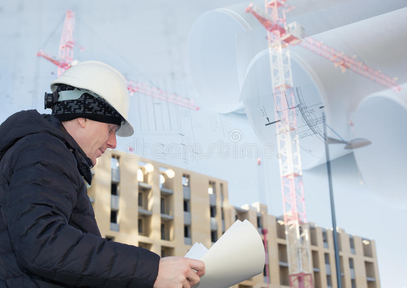 Collage with engineer on a construction site with. Cranes and blueprints royalty free stock photography