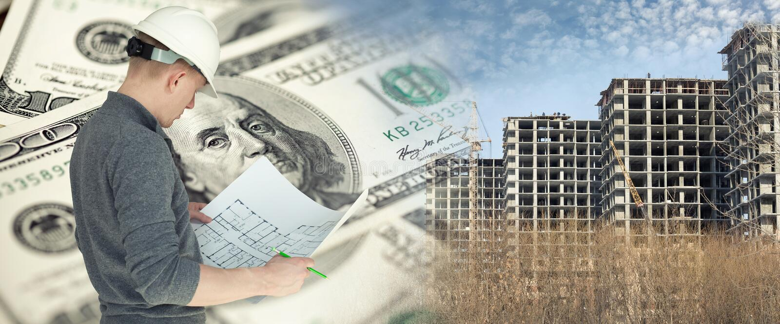 Collage with an engineer on construction site. Cranes and US dollars royalty free stock photo