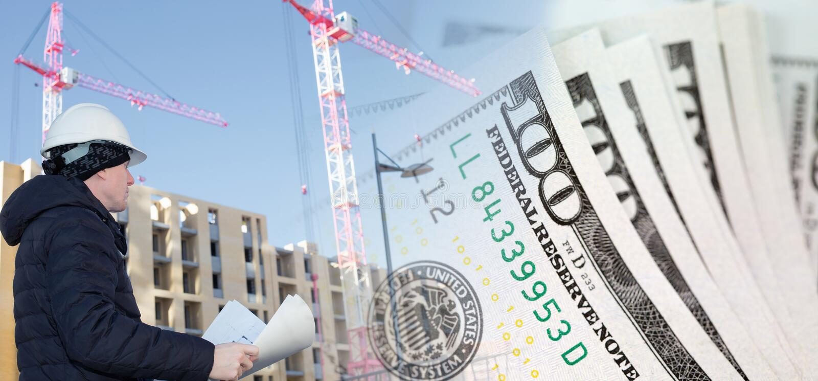 Collage with an engineer on construction site and US dollars. Collage with an engineer on construction site, cranes and US dollars stock images