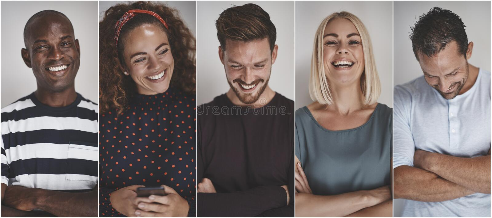 Collage of a smiling group of ethnically diverse entrepreneurs stock photo