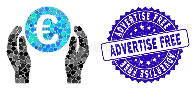 Collage Euro Care Hands Icon mit texturierten Werbekostal lizenzfreie abbildung