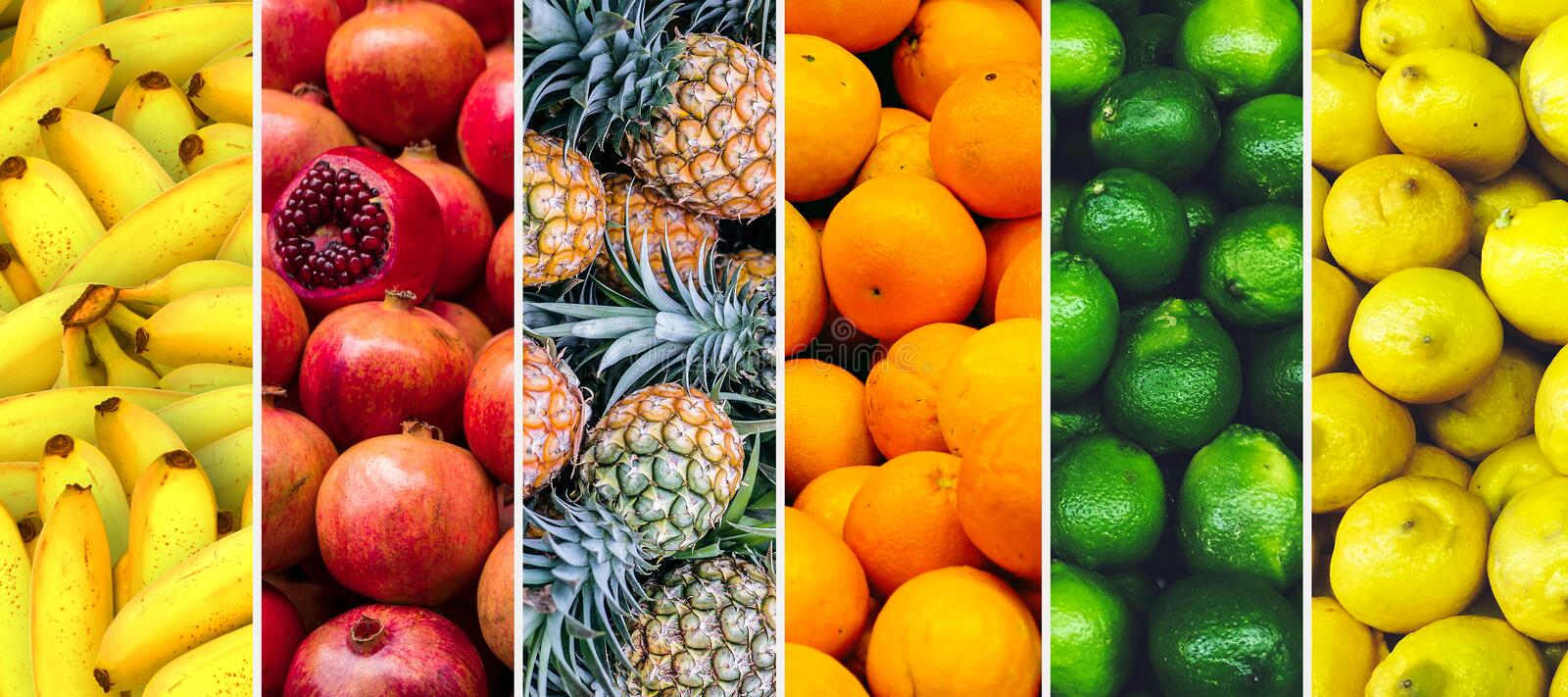 Collage of exotic fruit textures horizontal image royalty free stock photography